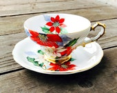 Red Poinsettia Cherry Co China Cup and Saucer Set Hand Painted Original Holiday Christmas Cup and Saucer Tea Party Vintage