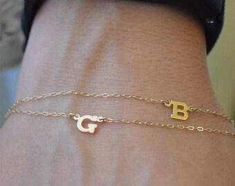 Two Initial bracelet 14k gold,Letter bracelets,Double initial bracelet,Gold alphabet bracelet,initial  bracelet,Initial jewelry.