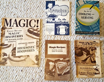 Lot of 5 Vintage Cooking Magazines - Vintage Cook Books - Vintage Recipes - 1930s