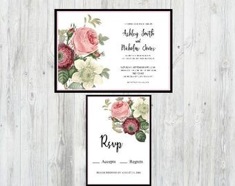 Floral Wedding Invitation, Flower Wedding Invitation, Printable Wedding Invitation, Botanical Wedding Invitation, Wedding Invitation Set