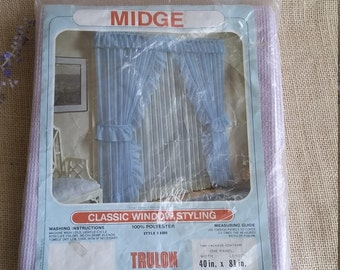 Vintage Lace Curtain 40 x 81 LAVENDER Lace Sheer Curtain Panel Vintage UNUSED in Package Beacon Looms Window Sheer