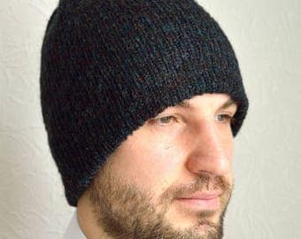Hand knitted men's mohair hat