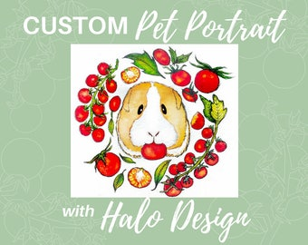 CUSTOM PET Portrait W/ Halo: Cute Original Keepsake Painting
