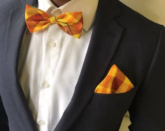 Madras bow yellow & Brown