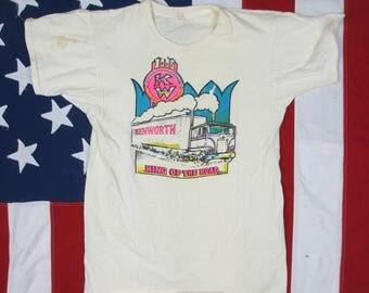"Vintage Well Worn 1970's Kenworth Truck ""King of the Road"" Iron on Transfer T-Shirt XS/Small Beige Semi 18 Wheeler Trucker Soft Thin"