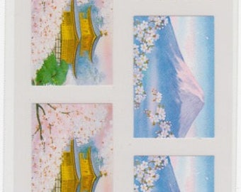 Cherry Blossom Stickers - Japanese Stickers - Mt Fuji and Temple - Reference A4443-45