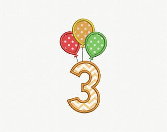 3 Birthday Balloons Applique Machine Embroidery Design - 1 Size