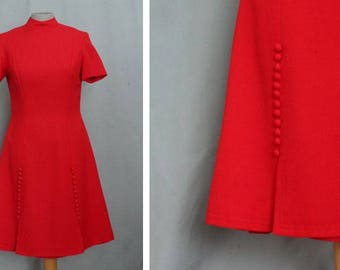 1960's Scarlet Red Wool Dress - Size S #1205