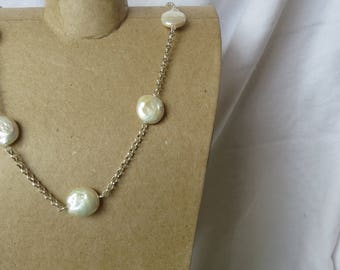 Freshwater coin pearl station necklace and earring set