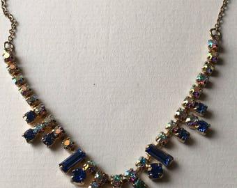 Vintage 1950-1960s Aurora Borealis Rhinestones and Blue Glass Necklace - Gold Tone ChainCostume Jewelry