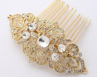 Bridal Hair Piece, Gold Rhinestone Hair Comb, Vintage Wedding Hair Accessories, Bridal Hair Clip, Gold Bridal Hair Combs