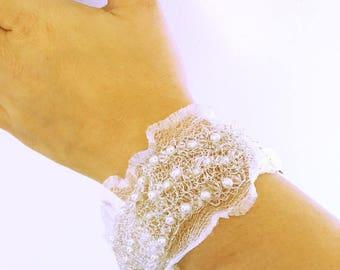 Metal bracelet cuff wedding lace