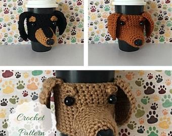 Dachshund Pattern - Crochet Dachshund - Amigurumi Dog - Mug Cozy Pattern - Crochet Dog Pattern - Dog Crochet Pattern - Crochet Pattern Dog