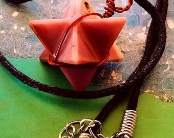 MOOKAITE Crystal MERKABA Star Sacred Geometry Pendant With Copper Wrap and Chain, Reiki Healing
