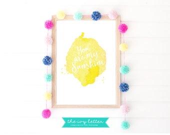 Girls sunshine print, You are my sunshine, Sunshine printable, Girls sunshine Art, Sunshine Wall Art, Kids Printable Art, Sunshine poster