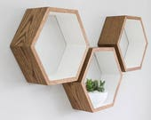 Hand Painted Oak Hexagon Wall Shelf in Solid Oak | Dark Oak Shelves Hand Painted with Farrow & Ball | Set of Three Shelves