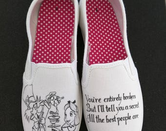 Disney Alice in Wonderland Mad Hatter Cheshire Cat Custom Hand Painted Shoes