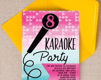 Personalised Karaoke themed Kids Party Invitation Cards