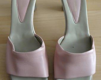 Sandales / mules à talons BABOUAAS en cuir rose pointure 37 - uk 4 - Us 5,5 - It 36