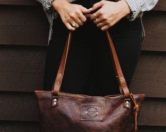 Over-the-Shoulder Chestnut Leather Bag