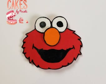 2D Elmo Face Cake Topper (MADE TO ORDER)