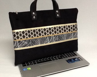 Bag cover for Macbook/customized bag for laptop / PC/gift High tech/bag carrying handles leather Macbook case black/gold