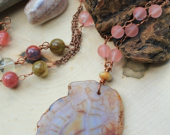 OOAK - Boho Statement Necklace - Pink and Brown Long Necklae - Neutral Tone Necklace - Agate Pendant Necklace - Watermelon Tourmaline