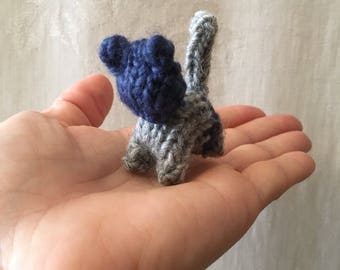 Tiny Waldorf Inspired 100% Wool Knitted Kitten - Gray & Blue
