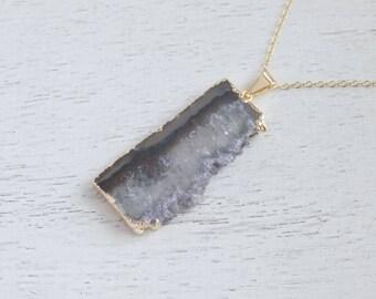 Amethyst Necklace, Amethyst Slice, Amethyst Crystal Pendant, Amethyst Druzy, Gold Amethyst, Raw Amethyst, Amethyst Stalactite, Gift, 7-89