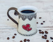 Heart mug, Coffee mug,  Tea mug, Ceramics and Pottery, Unique  Mug, Handmade mug, Funny mugs, Housewarming gift, Pottery tea mug, Heart mugs