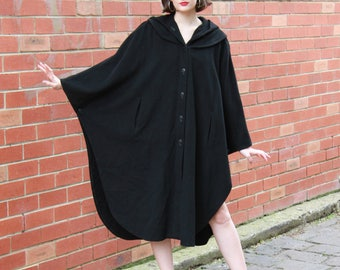Vintage 1970s Black Wool CAPE / Black Wool PONCHO / Hood / Poncho / Coat / S - L