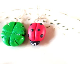 Ladybird Earrings-St. Patrick's Day jewelry-earrings with clover-double pendant earring-lucky Gift