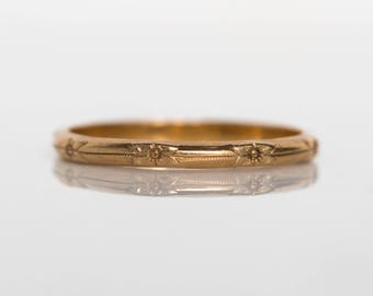 Circa 1930s Art Deco 14K Yellow Gold Wedding Band - VEG#835
