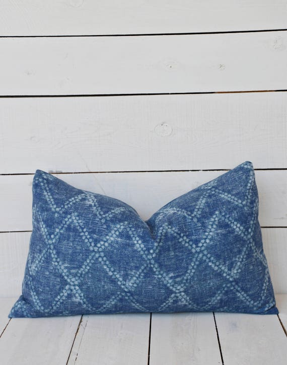 Indigo mud cloth style pillow cover. available in 16x16, 18x18, 20x20, 16x24 and 16x26. available with or without patches