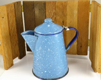 Blue White Speckled Enamelware Coffee Pot - Cobalt Blue Trim - Small 4 Cup Size - Hinged Lid - Primitive Farmhouse Kitchen