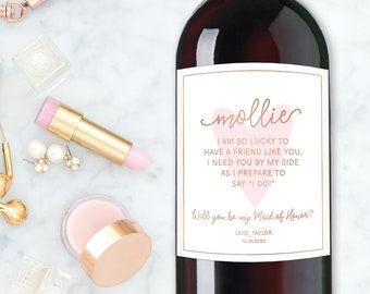 Bridesmaid Wine Label, Maid of Honor Proposal, Will you be my Bridesmaid Champagne Label, Asking Bridesmaid, Can't Say I Do Without you Card