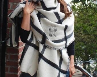 Monogrammed Blanket Scarf - Reversible Black & White