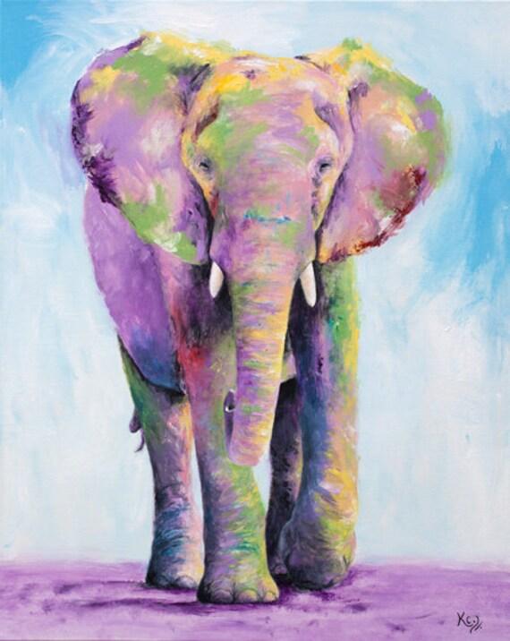 Elephant Art Print - Elephant Gift, Zoo Animals Art, Elephant Decor, Elephant Print, Zoo Art, Elephant Nursery Art, Elephant Wall Art.