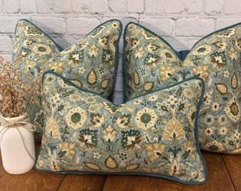 Teal Southwest Print Pillow Covers w/ zipper, Carpet Print Pillows, Distressed Print, Floral Medallion Pillows, 12x20 or 20x20