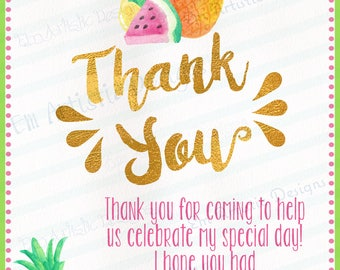 SET OF 12 Tutti Frutti thank you cards}A2}Envelopes included}Printed for you by me} Has matching invitations