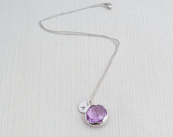 Silver Initial Necklace & Purple Gem Necklace, Custom Jewellery, Personalised Jewellery, Initial Necklace , Bridesmaid Gift