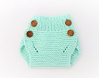 Knitted Baby Diaper Cover - Knitted Baby Bloomer - Mint - Dress Diaper Cover