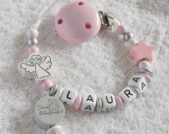 Dummy necklace with Name, pacifier-clip-guardian angel-white pink silver-gift for baptism-baby chic-Shop
