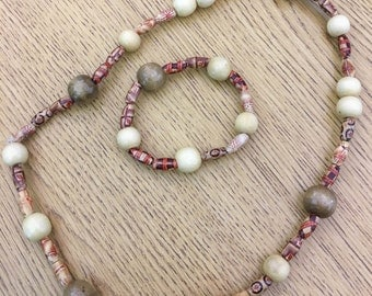 Beige and Brown Wooden Beaded Necklace and Bracelet Set