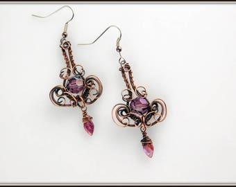 Amethyst Chandelier Earrings, Copper Wire Wrapped Earrings,  Purple earrings, Lilac Swarovski Chandelier Earrings, Purple Jewelry,