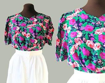 80s Floral Blouse / 1980s Floral Print / Button Back Blouse / Purple Flower Pattern / Sweetheart Neckline / UK Size 16