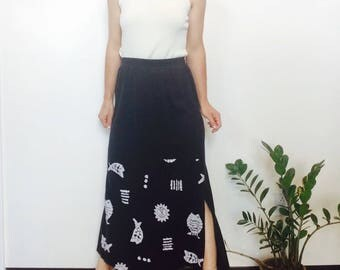 Long Black skirt black maxi skirt 90s skirt black skirt black long skirt high waisted skirt small size s skirt minimalist skirt with slits