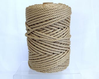 Gold Rope Spool Macrame Supply Thick Golden Cord for Macrame Fiber Art Project Cone of Rope for Crafting Rustic Decor Material for Wrapping