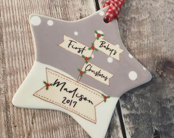 Personalised Baby's First Christmas with Name Signpost ....Ceramic Star... Christmas Gift - Tree Decoration - Ornament