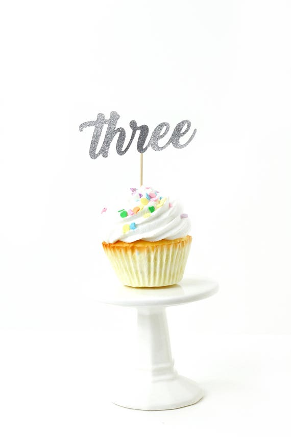 Number Three Silver Glitter Cupcake Toppers, Number Three Toothpicks, Silver Party Decor, Food Decoration, Third Birthday 3rd Birthday Three